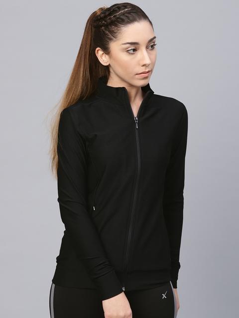 HRX by Hrithik Roshan Women Black Self Design Sweatshirt