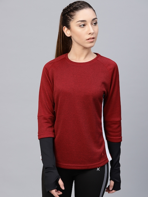 HRX by Hrithik Roshan Women Maroon & Black Solid Sweatshirt