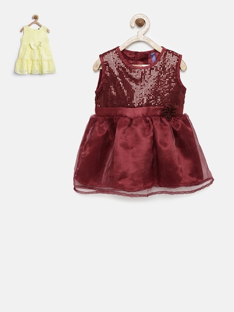YK Girls Pack of 2 Yellow & Maroon Dress