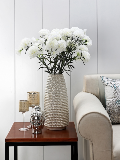 Pure Home and Living Cream-Coloured Textured Decorative Vase