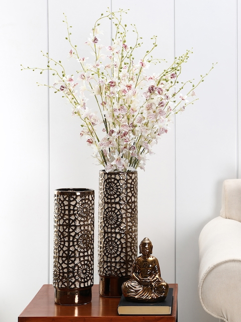 Pure Home and Living Bronze-Toned Cylindrical-Shaped Decorative Vase