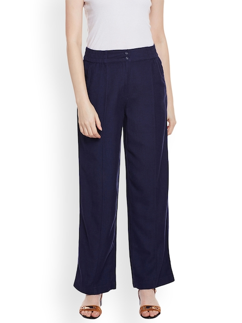 Oxolloxo Women Navy Blue Solid Palazzos