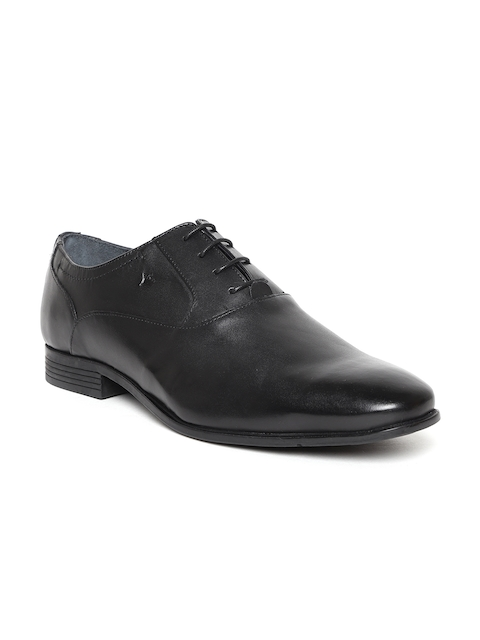 Louis Philippe Men Black Genuine Leather Formal Oxfords