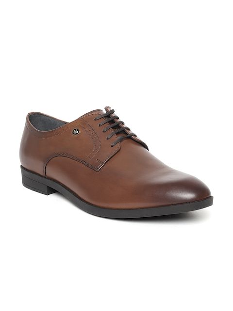 Louis Philippe Men Tan Brown Genuine Leather Formal Derbys