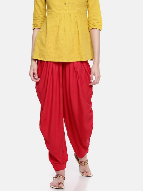 Go Colors Red Solid Dhoti Pants