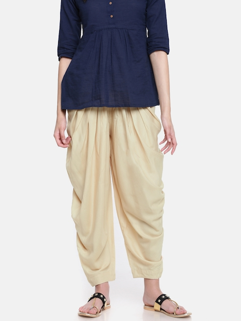 Go Colors Beige Solid Dhoti Pants
