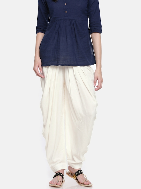 Go Colors Cream-Coloured Solid Dhoti Pants