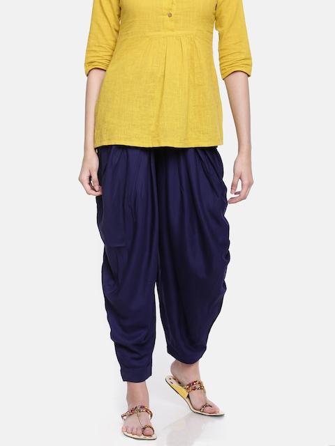 Go Colors Blue Solid Dhoti Pants