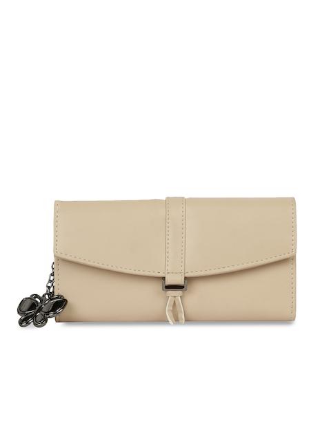 Butterflies Women Beige Solid Two Fold Wallet