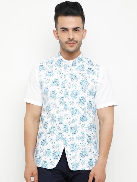 SHOWOFF Men White & Blue Woven Printed Nehru Jacket