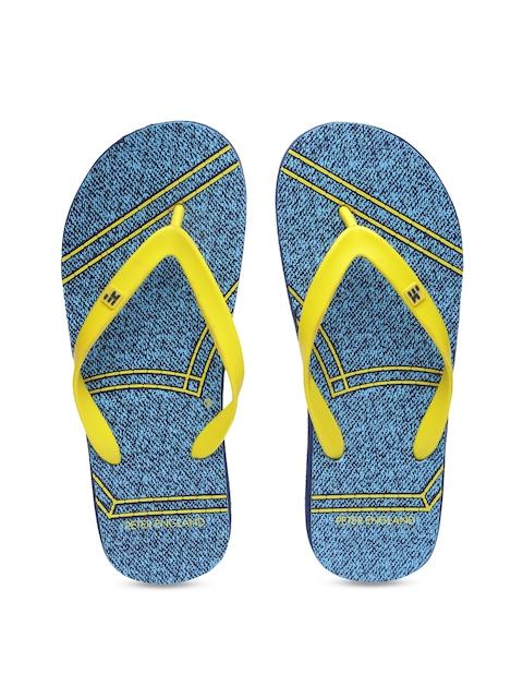 Peter England Men Yellow & Blue Flip-Flops