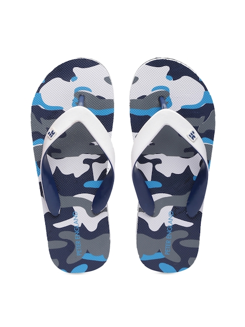 Peter England Men White & Blue Flip-Flops