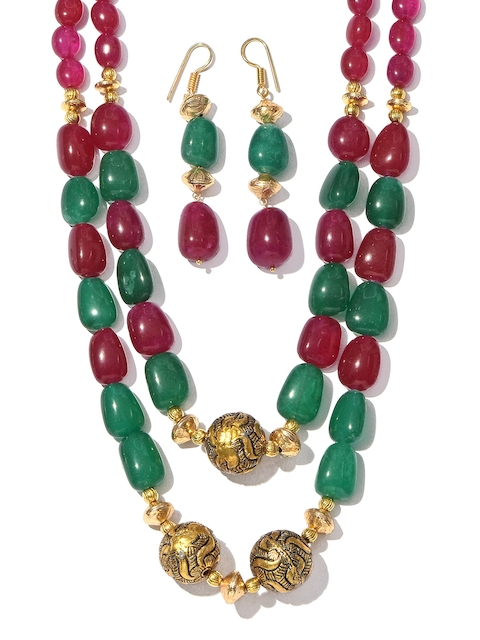 Tistabene Red Metal Gold-Plated Jewellery Set