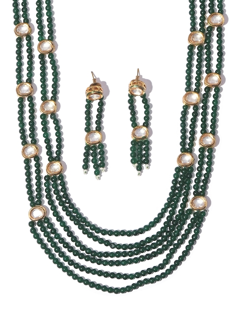 Tistabene Green Metal Gold-Plated Jewellery Set