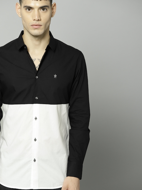 French Connection Men Black & White Slim Fit Colourblocked Casual Shirt