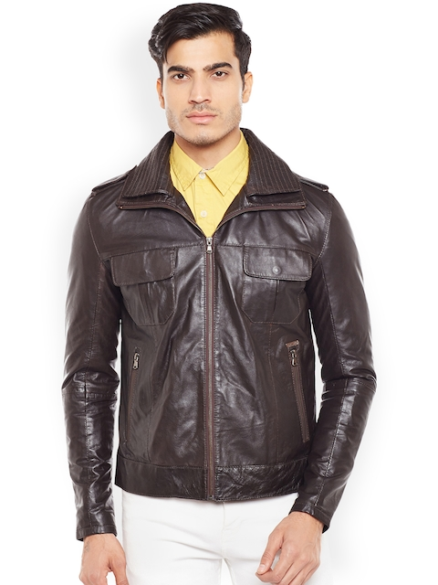 BARESKIN Men Coffee Brown Solid Lightweight Leather Jacket