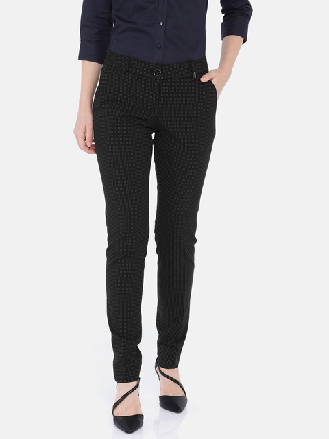 Park Avenue Women Black & White Tapered Fit Self- Design Formal Trousers
