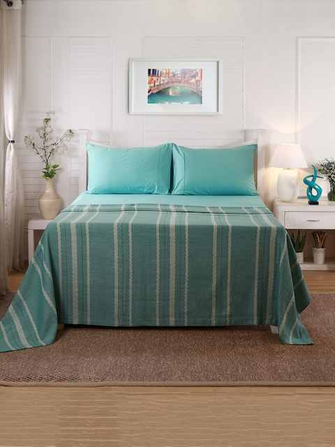 MASPAR Turquoise Blue & Beige Striped Double-Queen Size Bed Cover