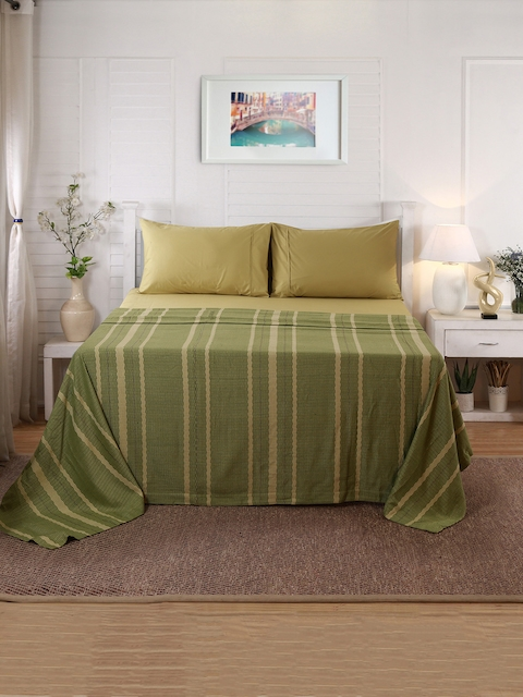 MASPAR Olive Green & Beige Striped Double-Queen Size Bed Cover