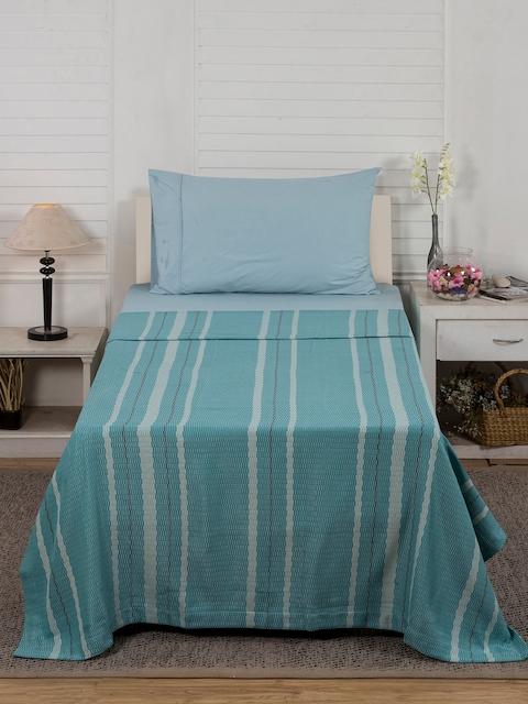 MASPAR Blue & Beige Striped Single Bed Cover