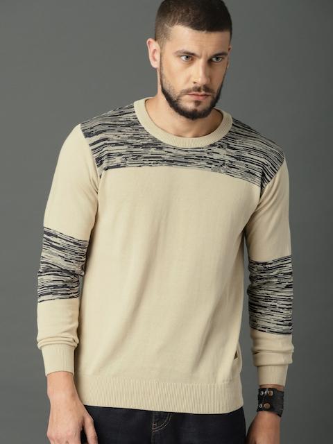 Roadster Men Beige Solid Pullover Sweater