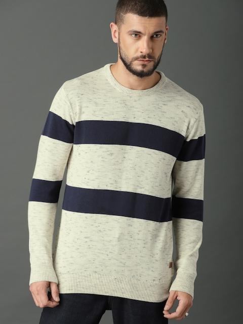 Roadster Men Beige & Navy Blue Striped Pullover Sweater