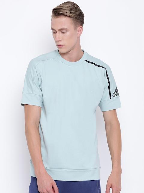 Adidas Men Mint Green Solid Round Neck ZNE SSCREW Sweatshirt