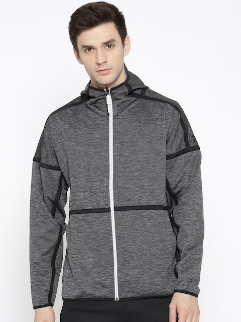 Adidas Men Charcoal Grey & Beige Z.N.E Hooded Reversible Sweatshirt