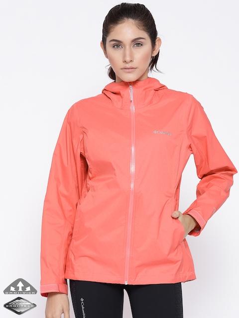Columbia Peach-Coloured EvaPOURation Rain Jacket