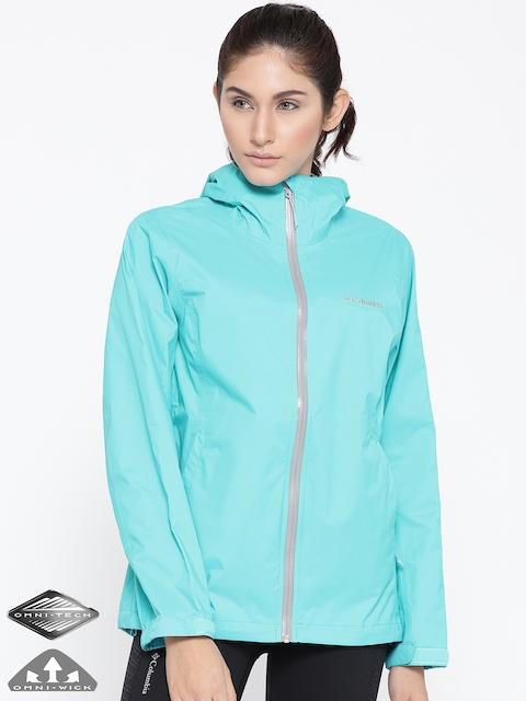 Columbia Turquoise Blue Evapouration Rain Jacket
