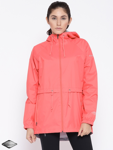 Columbia Coral Pink Arcadia Casual Rain Jacket