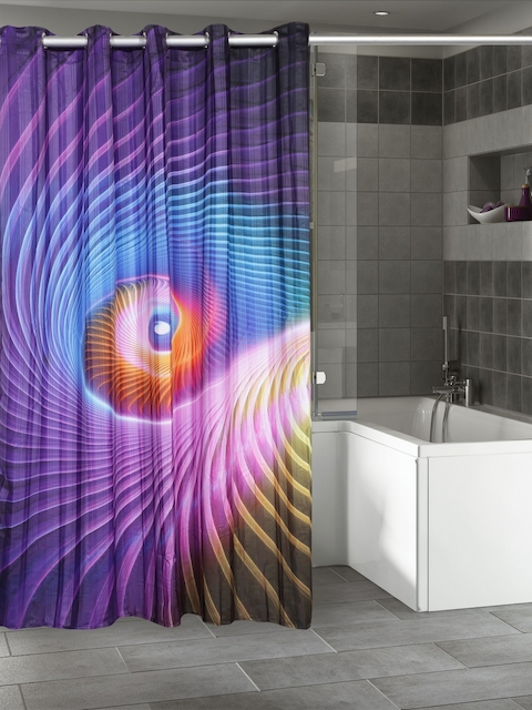 Lushomes Multicoloured Printed Polyester Shower Curtain