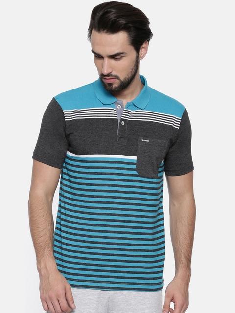Proline Men Turquoise Blue Striped Polo Collar T-shirt