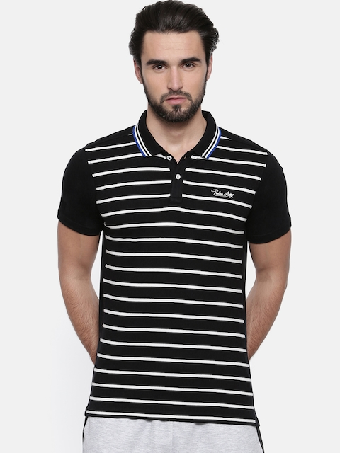 Proline Men Black Striped Polo Collar T-shirt