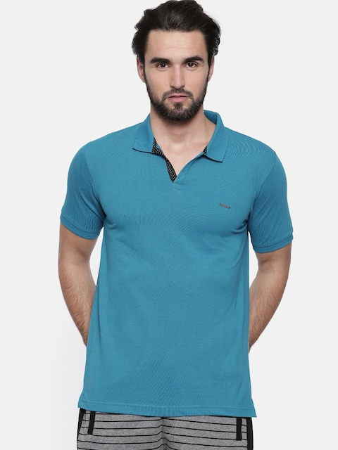 Proline Men Blue Solid Polo Collar T-shirt
