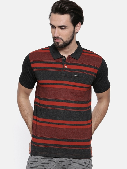Proline Men Rust Striped Polo Collar T-shirt