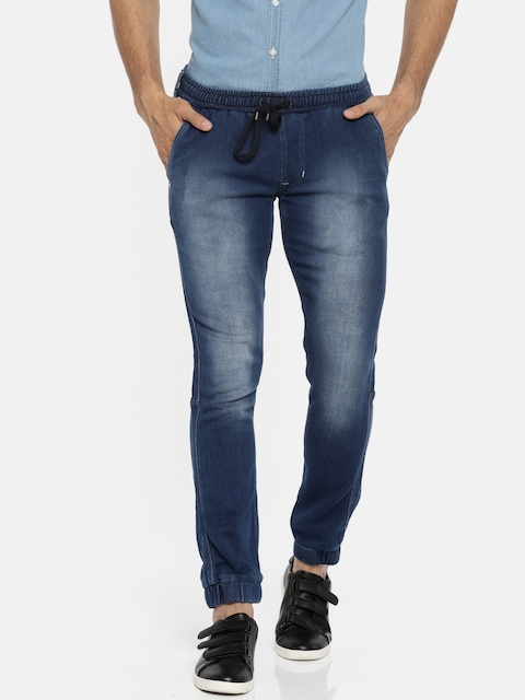 Lee Men Blue Mid-Rise Clean Look Stretchable Jogger Jeans