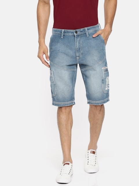 Lee Men Blue Washed Slim Fit Denim Shorts