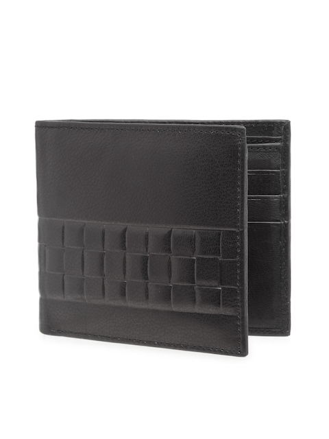 Teakwood Leathers Men Black Textured Two Fold Leather Wallet