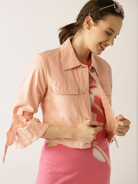 United Colors of Benetton Women Peach-Coloured Solid Tailored Jacket
