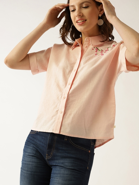 United Colors of Benetton Women Peach-Coloured Regular Fit Solid Casual Shirt