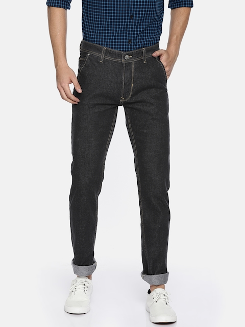 Peter England Casuals Men Black Slim Fit Low-Rise Clean Look Stretchable Jeans