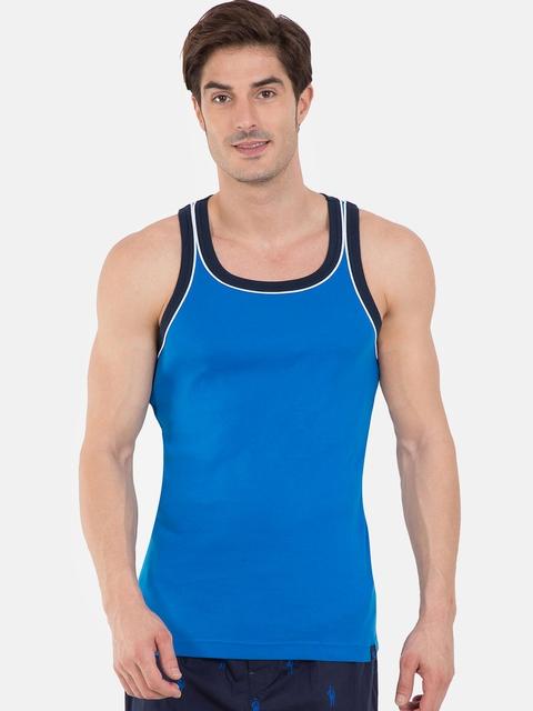 Jockey SPORT Men Blue Solid Sleeveless Athleisure T-shirt