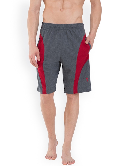 Jockey SPORT Men Grey Melange & Maroon Shorts 9411