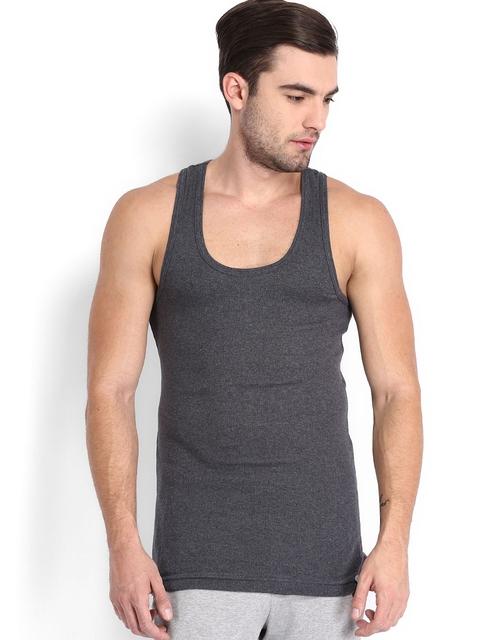 Jockey 24 x 7 Men Charcoal Grey Sleeveless T-shirt