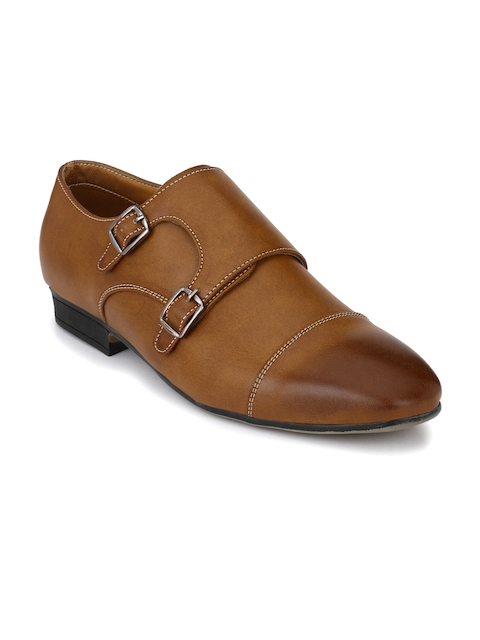 Fentacia Men Tan Formal Monk Shoes