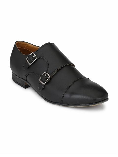 Fentacia Men Black Formal Monk Shoes