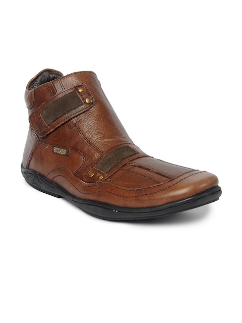 Buckaroo Men Brown Solid Leather Mid-Top Flat Boots