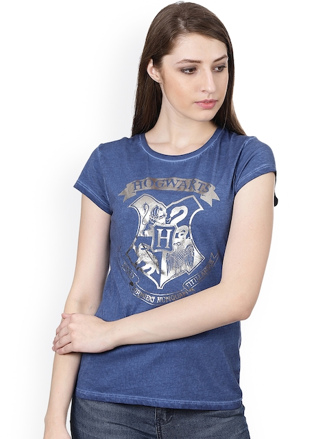 Harry Potter Women Navy Blue Printed Round Neck T-shirt