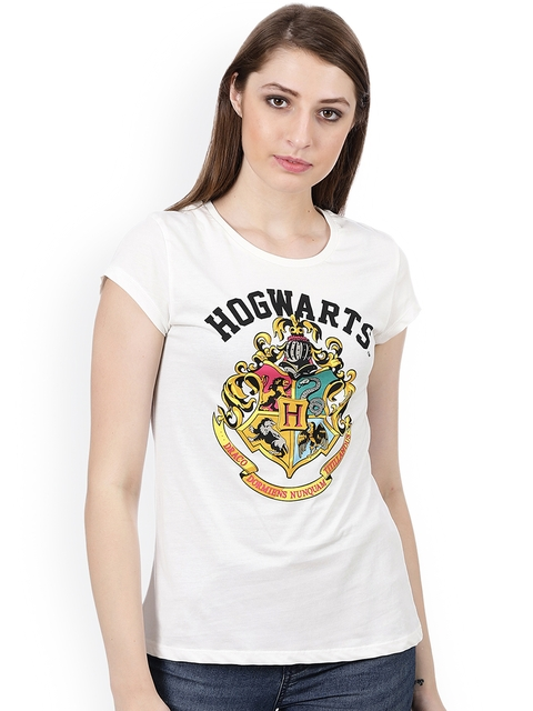 Harry Potter Women Off-White Printed Round Neck T-shirt